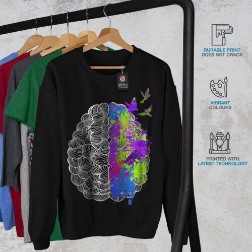 Colorful Art Black Sweatshirt Men Brain New Or1q0Ov
