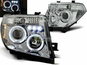 Coppia-Fari-Anteriori-Nissan-NAVARA-D40-PATHFINDER-2005-2010-Angel-Eyes-Cromati