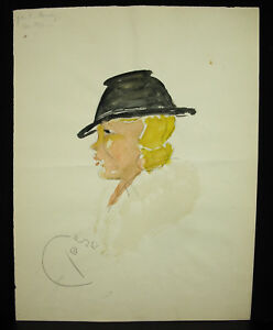 M-Pouray-c1920-acquerello-originale-profilo-di-donna-tedesca-au-chapeau-Tyrol