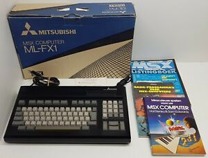 Mitsubishi-ML-FX1-MSX-computer-Boxed-with-cables-books-and-magazines