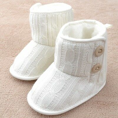 NEW Infant Baby Girls Boy White Cable Knit Boots Shoes 6-12 months size 4