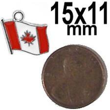 10x Canadian maple leaf flag 15mm x 11mm jewelry charm / pendant Canada 10 pcs
