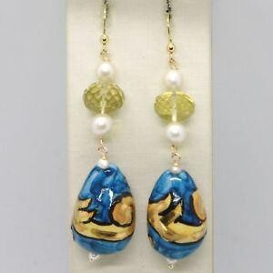 Ohrringe-aus-Gold-Gelb-750-18k-Perlen-und-einer-Tropf-Handbemalt-Made-in-Italy