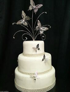 Crystal silver butterfly wedding cake topper 3 butterfly side image is loading crystal amp silver butterfly wedding cake topper 3 junglespirit Choice Image