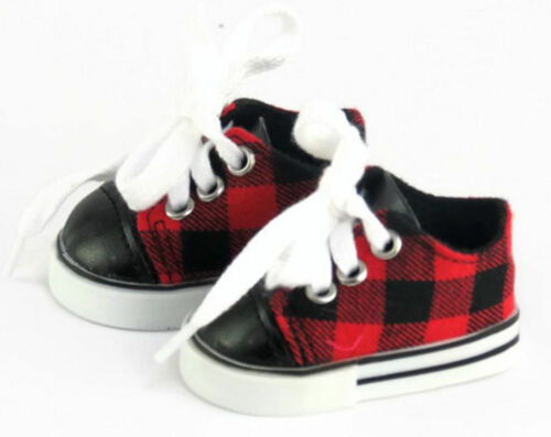 Red & Black Plaid Sneakers Shoes Doll Clothes Fits 18 Inch American Girl