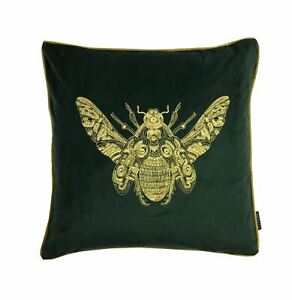 2XEMBROIDERED-Abeille-Emeraude-Vert-Or-Velours-Ambiance-20-50CM-Housse-Coussin