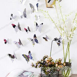 12pcs-Papillon-3D-effet-de-miroir-wall-stickers-art-mural-autocollant-decoration-moderne