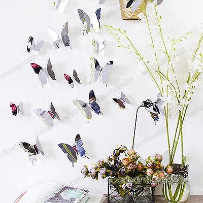 12pcs 3D Butterfly Mirror Effect Wall Stickers Art Mural Decal Modern Home Decor