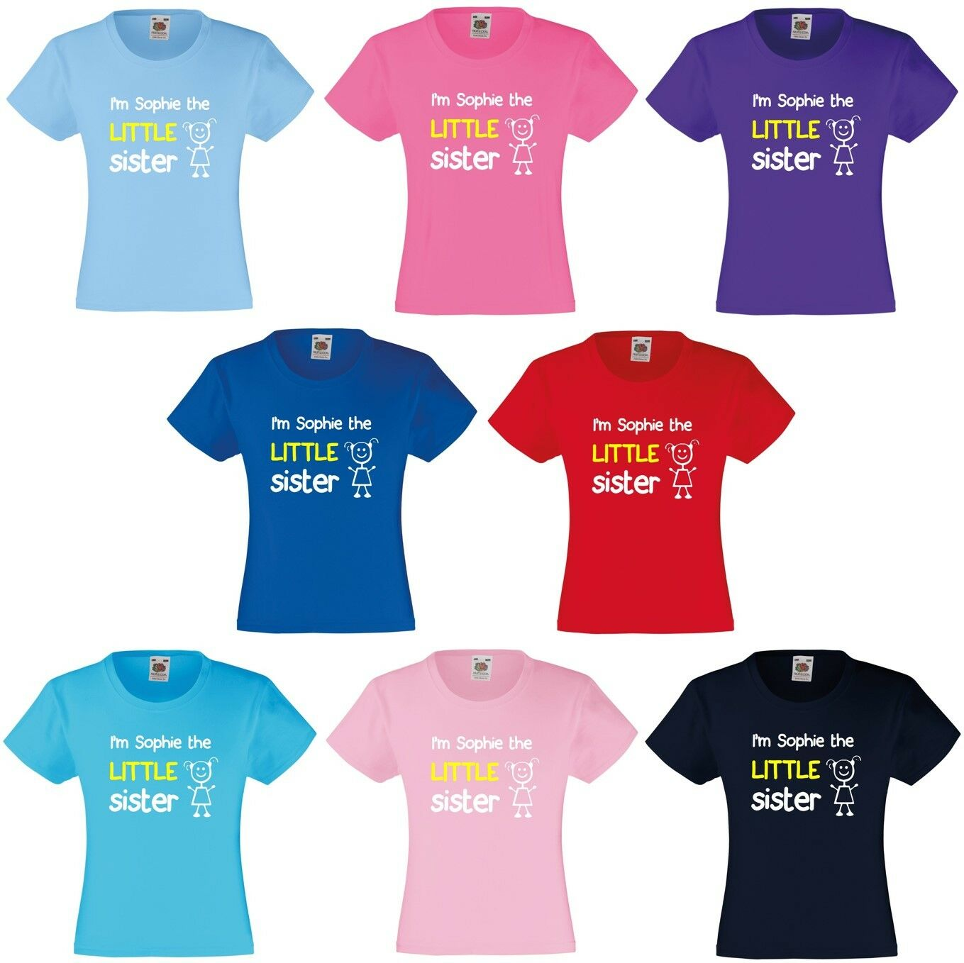 31349f97 Details about Personalised I'm The Little Sister Girls T-Shirt 3-13 Yrs  Funny Custom Present