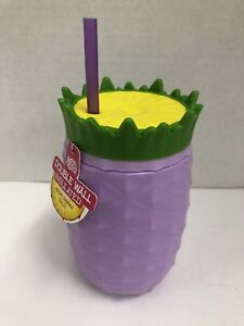 3d02943aa4f Details about Cool Gear Pineapple Double Wall Tumbler Cup with Straw BPA  FREE Purple (NEW)