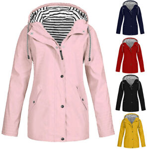 Women-Ladies-Raincoat-Wind-Waterproof-Jacket-Hooded-Rain-Mac-Outdoor-Poncho-kz