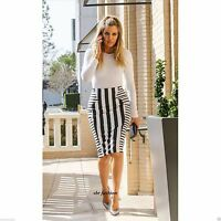 Ladies Celeb Monochrome Stripe Print Bodycon Womens Pencil Midi Tube Skirt 8-14