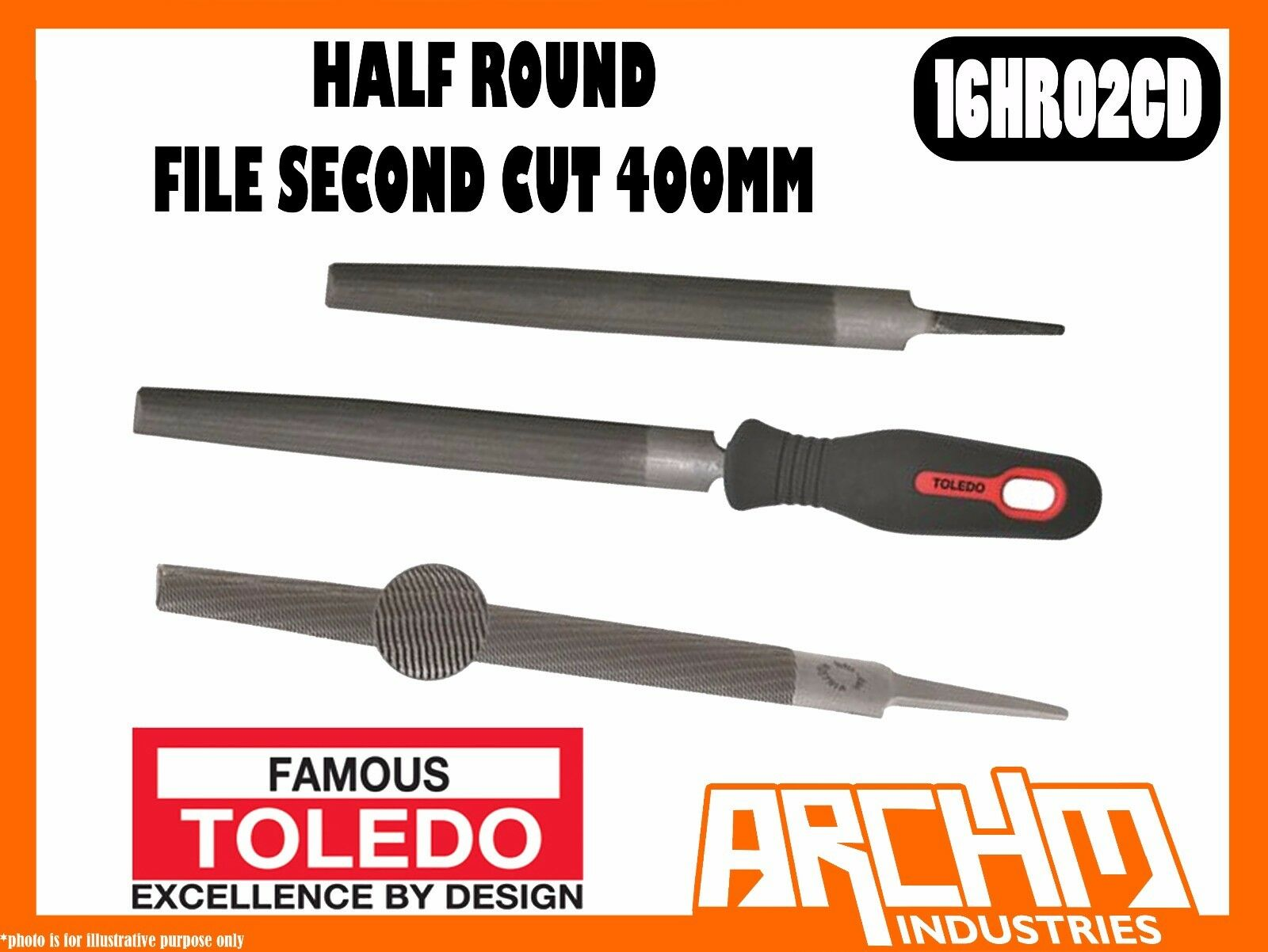 TOLEDO 16HR02CD - HALF ROUND FILE SECOND CUT - 400MM - TAPErot SPIRAL CUT METAL
