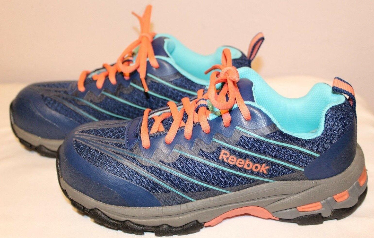 Reebok Work RB426 Exline Femme Indigo corail Comp Toe Athletic Oxford New 6.5 M