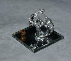 Vintage Swarovski Crystal SQUIRREL W/ AMBER CRYSTAL ACORN - On A Mirror -CFL TAG