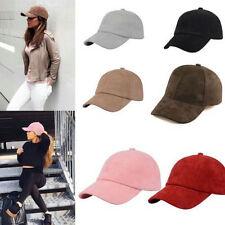 Fashion Women Girl KHAKI Suede Baseball Cap Snapback Sport Visor Hats Adjustable