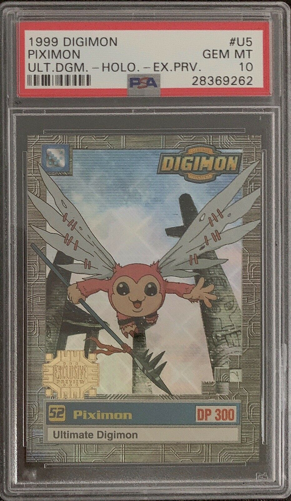 1999 Digimon Animated Series, Piximon-Holo Exclusive Preview  U5 PSA 10