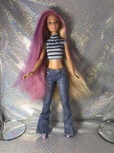 Mattel Barbie Blonde Purple Pink Hair/twist scalp/hair Dressed Shoes Gorgeous A+