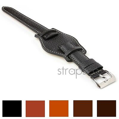 StrapsCo Bund German Military Aviator Leather Watch Strap Mens Cuff Band