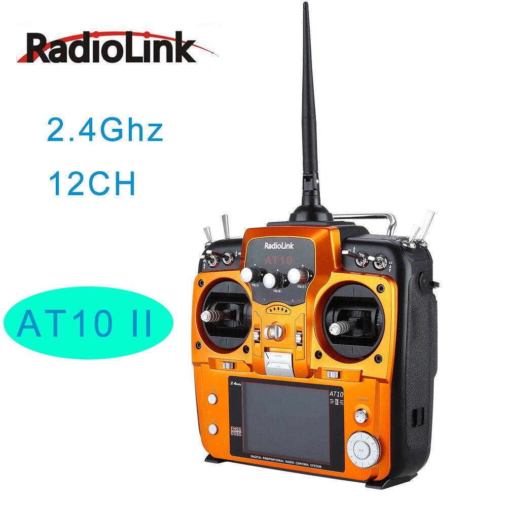 RadioLink AT10 2.4G 12CH RC Transmisor & II R12DS receptor PRM-01 para Multicopter