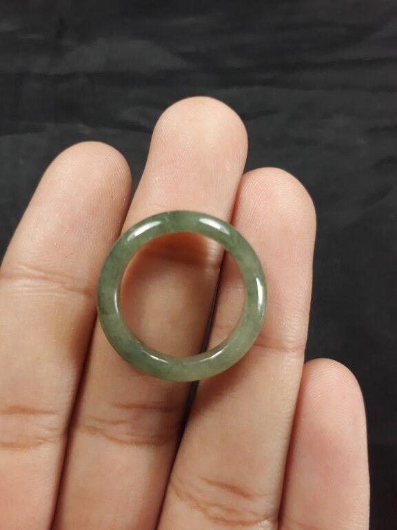Natural Grade A Burmese Jadiete Jade Ring Stone Carving Size 6.5 A7 184