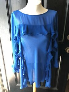 New-139-Rare-Chico-039-s-Black-Label-Tiered-Flounce-Blue-Top-Sz-2-Large-L-12-14-NWT
