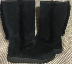 4c499cf3c95 Details about UGG SUNDANCE BLACK WATERPROOF SUEDE SHEEPSKIN TALL BOOTS SIZE  US 10 WOMENS