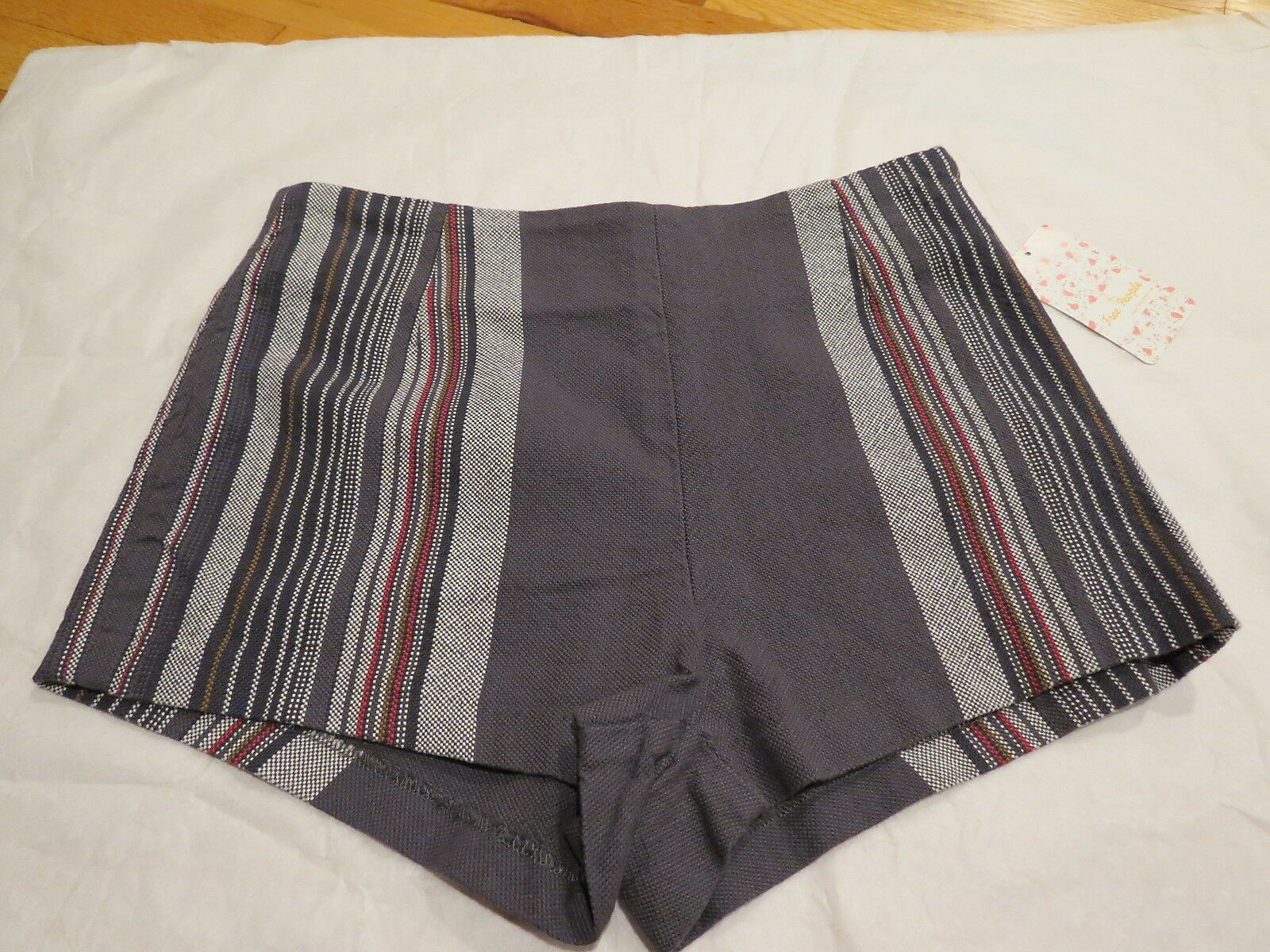 Free People Neuman Stripe Shorts Charcoal Combo Size 0  78 Authentic New NWT