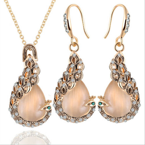 Unique Women Opal Crystal Peacock Pendant Necklace Earrings Jewelry Gift Set LH