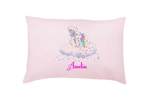Pink unicorn NUAGE Personnalisé Housse de Coussin Taie D/'Oreiller Cadeau Fantaisie Enfants Pres