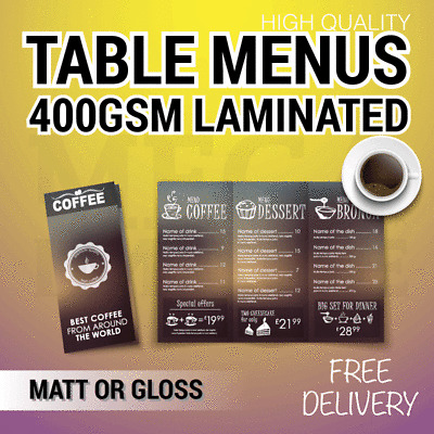 Wedding Table Menus Printed Restaurant Thick 400GSM Artboard Full Colour