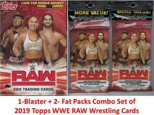 2019-Topps-WWE-RAW-Wrestling-Trading-Cards-1-Blaster-2-Fat-Pack-Combo-Set-FS