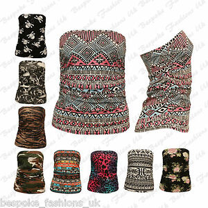 Ladies-Womens-Ruched-Bandeau-Aztec-Army-Animal-Boobtube-Vest-Crop-Top-Plus-8-22