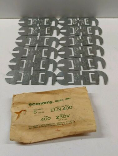 12 ECONOMY DELAY 400A 250V RENEWABLE FUSE LINKS ELN400 NEW OLD STOCK LOT OF