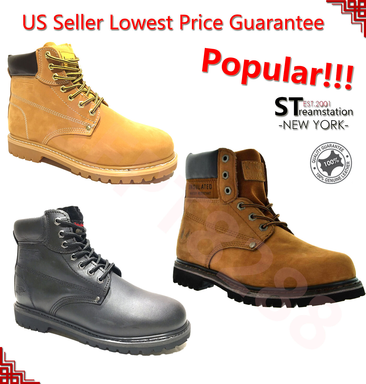 Men's 6'' Winter Snow Work Boots Shoes Water Resistant Rubber 6011