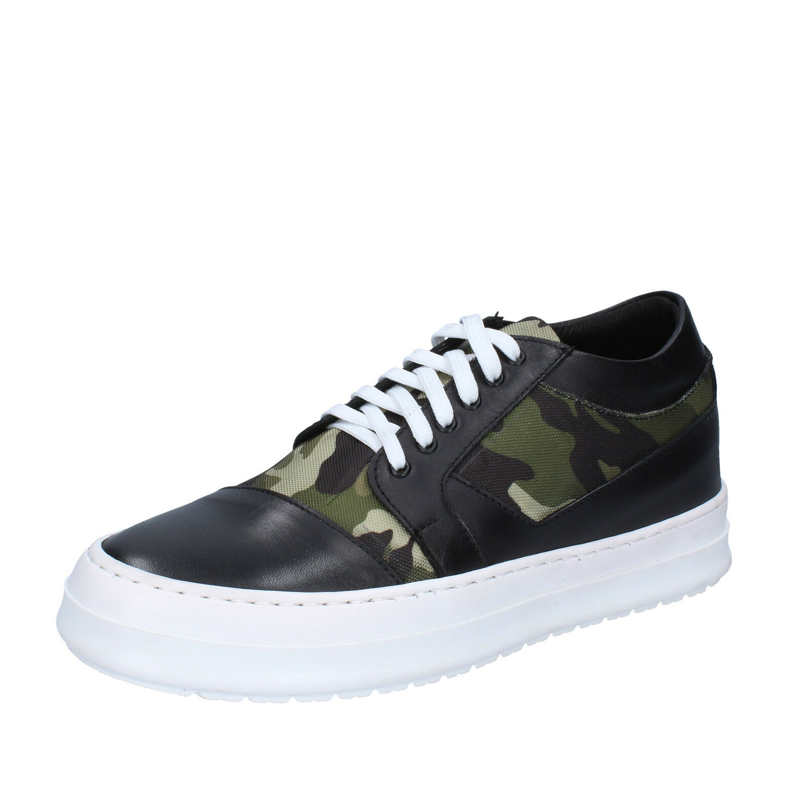men's shoes FDF SHOES 12 () leather sneakers black green leather () textile BZ376-G e04fe5