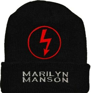 Marilyn Manson Wool Hat Black Beanie Knit Antichrist Superstar Logo ... 98b2ee8f338