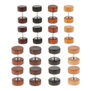 5c1e91df2 8Pcs Vintage Natural Wooden Earrings Men Women Body Jewelry Barbell ...