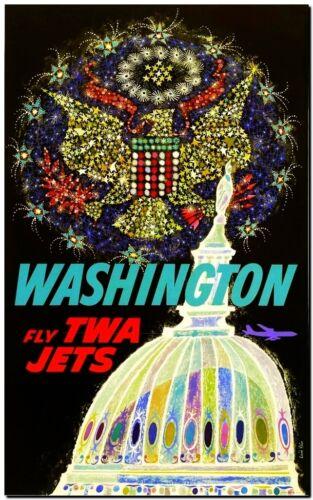 "Cool Retro Travel Poster *FRAMED* CANVAS ART Washington TWA 20x16/"""