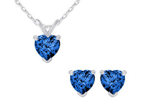 2.0 Carat (ctw) Created Sapphire Heart Earrings Pendant Set Sterling Silver