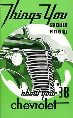 1938 CHEVROLET OWNERS MANUAL FOR GLOVE BOX    ALL MODELS