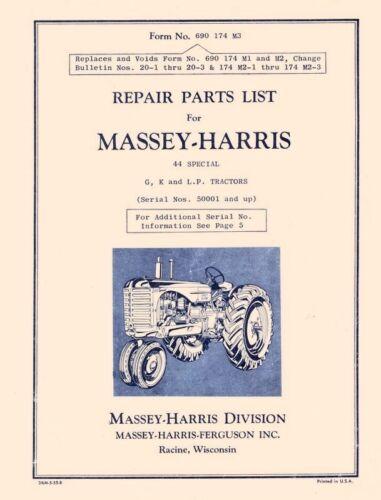 Massey Harris 44 Special G K LP Tractors Parts Manual