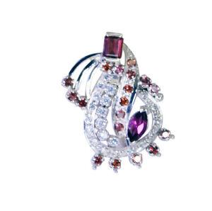 zarter-Granat-925-Sterling-Silber-rot-Anhaenger-natuerliche-indische-de-Geschenk