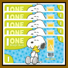 "5 Pcs x Cedar Fair 1 Beagle Buck, 2012 ""Peanuts, Snoopy"" Like Disney Dollar"