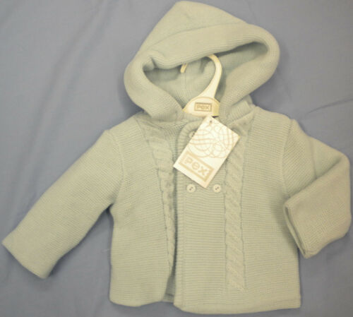 PEX BABY KNITTED JACKET WITH HOOD DOUBLE THICKNESS WHITE BLUE /& PINK CABLE DESIG