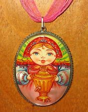 Genuine Russian hand painted SAMOVAR Matryoshka Doll German Silver Pendant GIFT