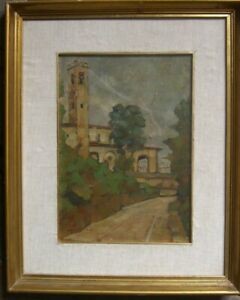 :: Mediterranean Church ° Expressionist Oil Painting Signed bayrle! France? Oil