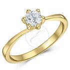 9ct Oro Amarillo Anillo Solitario Diamante De Compromiso 0.25ct 0.33ct 0.50