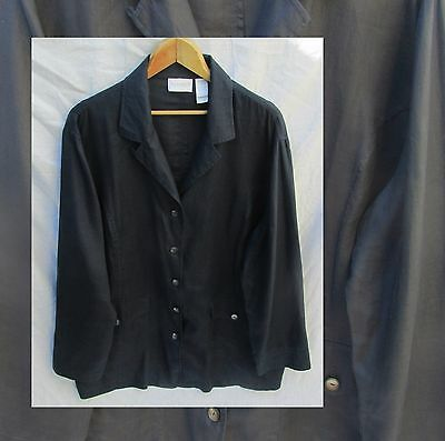 Elizabeth by Liz Claiborne Women 18 Navy Blue Linen Blazer Jacket