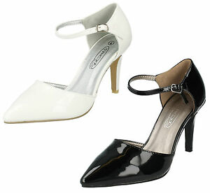 ad4278523d7 Details about SPOT ON LADIES POINTED TOE PATENT ANKLE STRAP STILETTO HEEL  COURT SHOES F9747